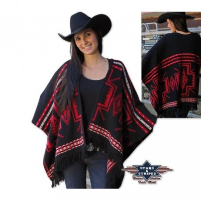 Gemusterter Strick-Poncho von Stars and Stripes